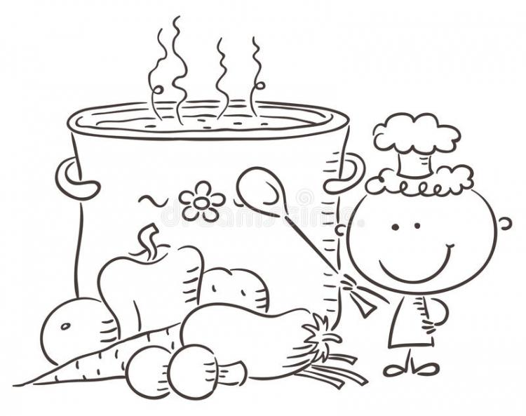 有一个巨型煮沸的罐的小厨师-44609586